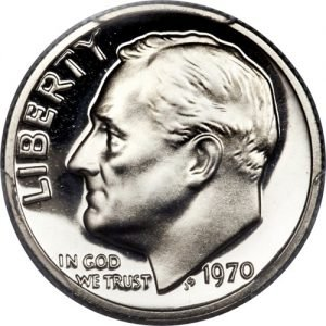 1970 No S Roosevelt Dime Proof value