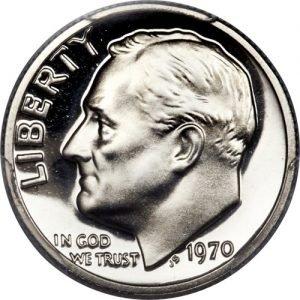 1970 No S Roosevelt Dime Proofvalue
