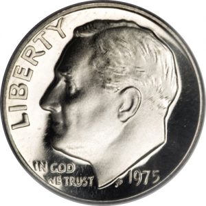 1975 No S Roosevelt Dime Proof value