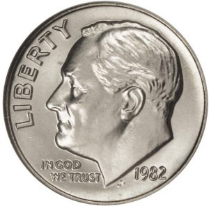 1982 No P Roosevelt Dime Proof value