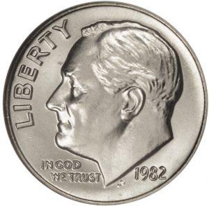 1982 No P Roosevelt Dime Proofvalue