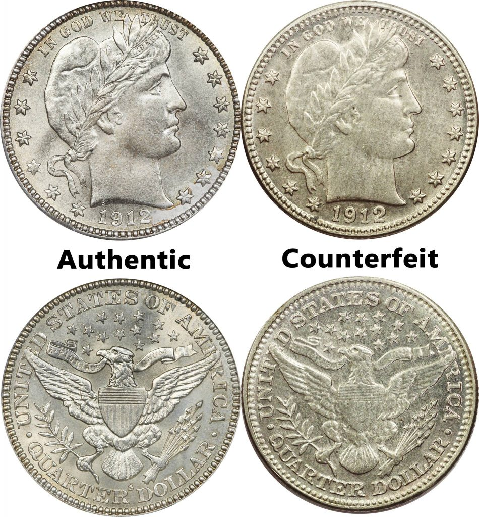 Barber Quarter Counterfeit Coin