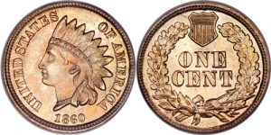 1860 Pointed Bust Indian Head Cent Penny Value