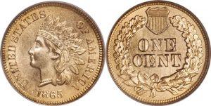 1865 Fancy 5 Indian Cent Value