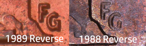 1988 Lincoln Cent with 1989 reverse designer FG