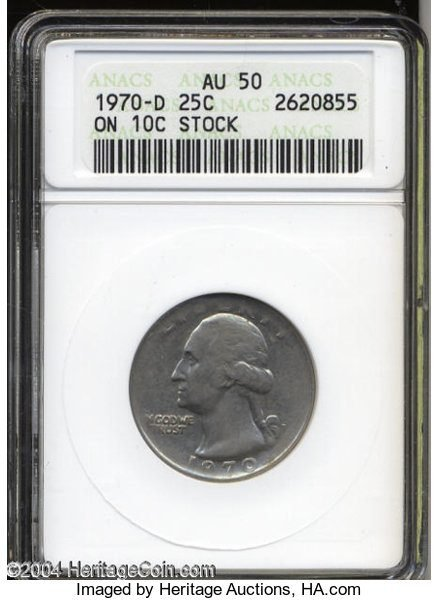 Quarter struck on a dime planchet stock mint error