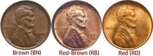 red Red brown Lincoln Cent Chart - How to tell if your penny cent is cleaned.