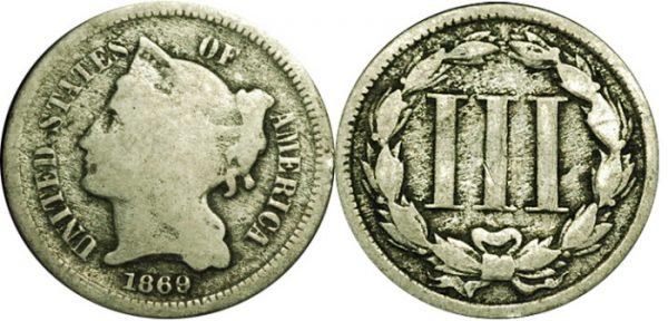 G4 Good Three Cent Nickel