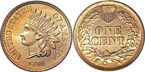 1860 1C Pointed Bust - CoinHELP