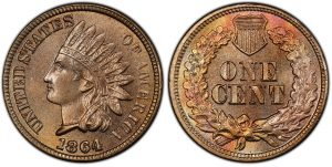 1864 Copper Nickel CN Indian Cent Value