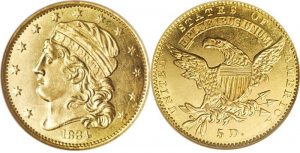 $5.00 Gold Coin Capped Bust, Left Value 1807 To 1834