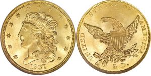 Classic Head $5.00 Gold Coin Value 1834 To 1838